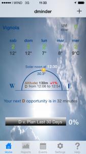Schermata da dminder app.