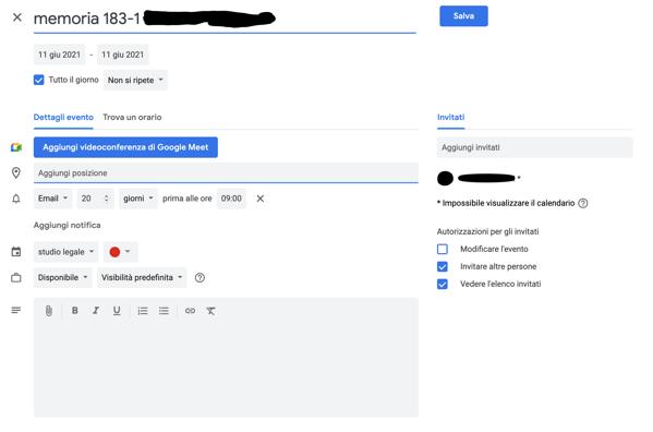 schermata google calendar
