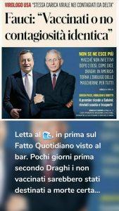 Letta al ?, in prima sul Fatto Quotidiano visto al bar. Pochi giorni prima secondo Draghi i non vaccinati sarebbero stati destinati a morte certa...
